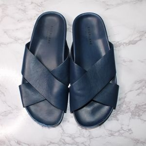 Everlane Womens Leather Cross Slide Blue Sz 9